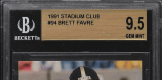 brett favre rookie card stadium club