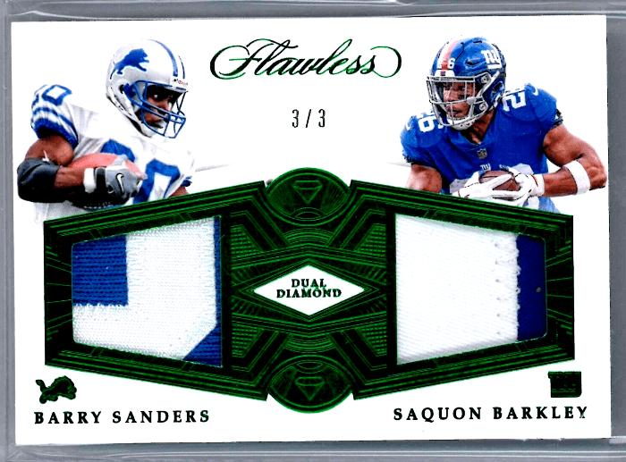 Barry Sanders Saquon Barkley Panini Flawless rookie card