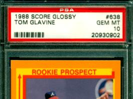 Tom Glavine rookie card score glossy